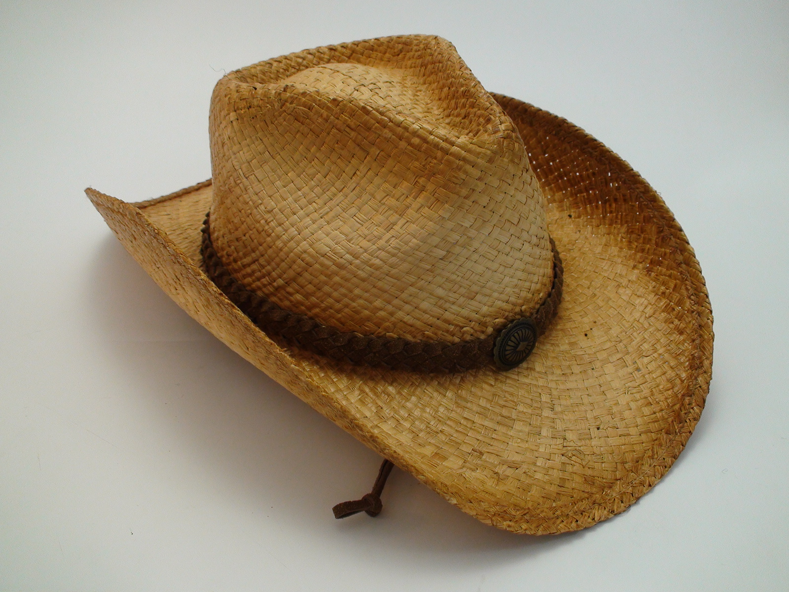Western Straw Cowboy Hat Leather Hat Band and Chin Cord 89c72893d86