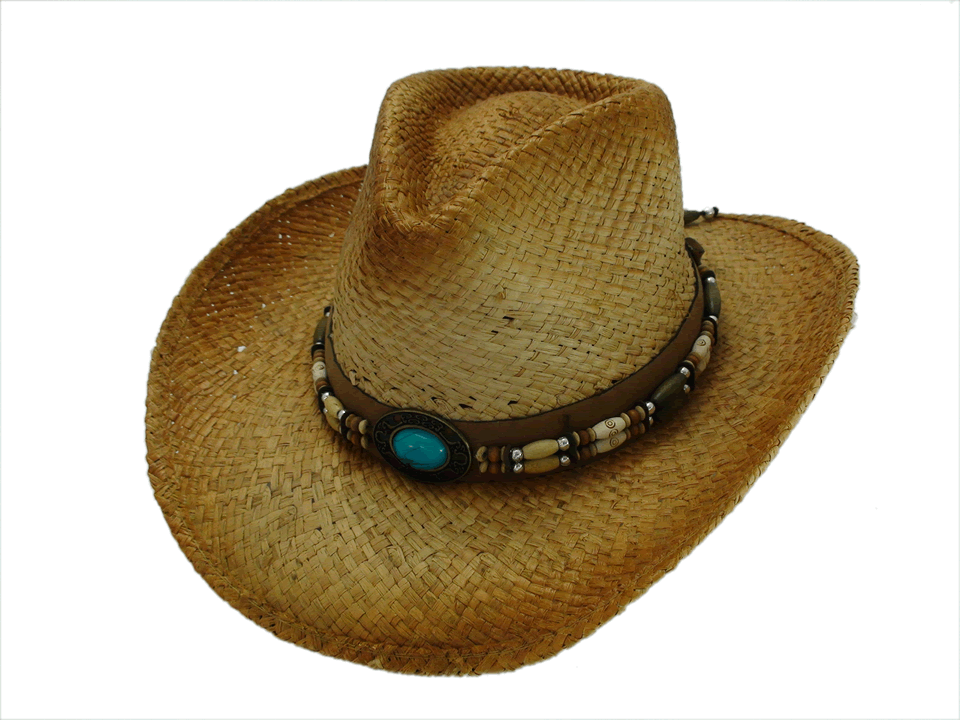 NEW Western Straw Cowboy Hat with Turquoise Leather Hat Band One Size c8b367669f5